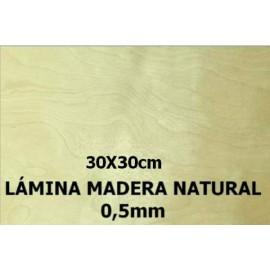 Hoja de Madera Natural 0,5mm 30x30cm