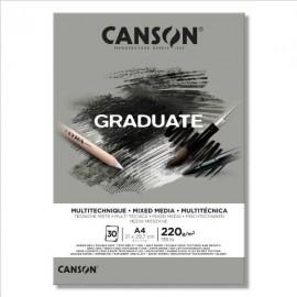 Bloc Graduate Mix Media Gris A4 Canson